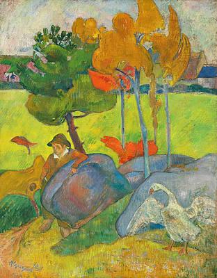Petit Breton a l'Oie Print by Paul Gauguin