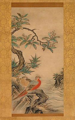 Реалистичный рисунок цветов - Фазаны среди деревьев. Цветы четырех сезонов