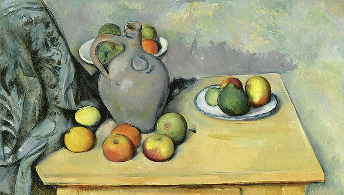 Pitcher and Fruit on a Table Print by Paul Cezanne