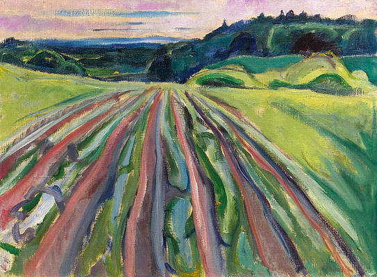 Ploughed Field Print by Edvard Munch