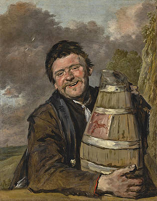 Portrait of a Fisherman holding a Beer Keg Print by Frans Hals and Studio