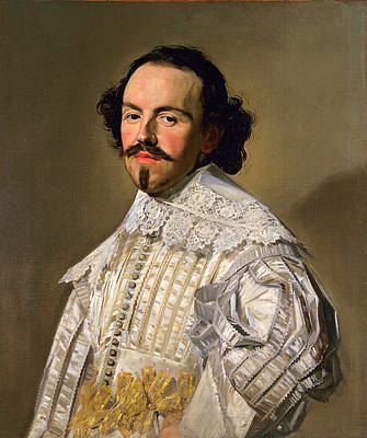 Portrait of a gentleman in white Print by Frans Hals