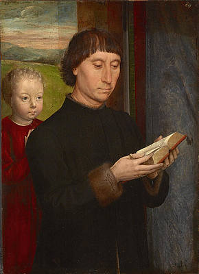 Portrait of a Man reading Print by Hans Memling