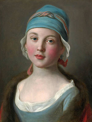 Portrait of a Russian Girl in a Blue Dress and Headdress Print by Pietro Rotari