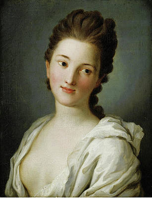 Portrait of a Woman in white Clothing Print by Pietro Rotari