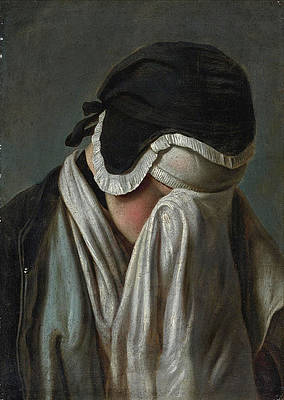 Portrait of a Young Girl hiding her Eyes Print by Pietro Rotari