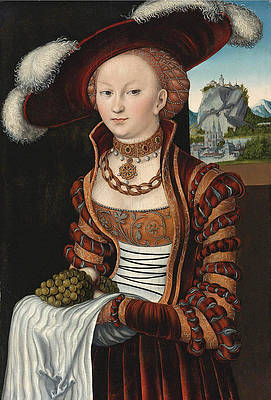 Portrait of a young lady holding grapes and apples Print by Lucas Cranach the Elder