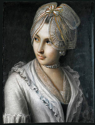 Portrait of a young lady with a lace cap and Jewelled Choker Print by Pietro Rotari