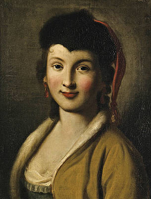 Portrait of a Young Woman Print by Attributed to Pietro Rotari