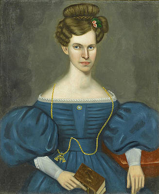Portrait of a Young Woman in a Blue Dress and wearing a Gold Pocket Watch Chain Print by Erastus Salisbury Field