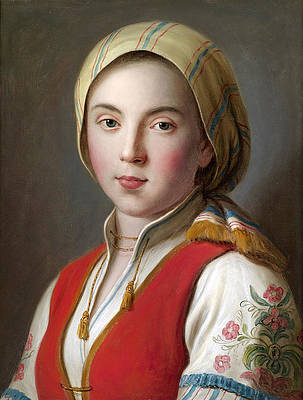 Portrait of a young woman in peasant costume Print by Pietro Rotari