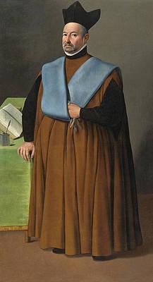 Portrait of Doctor Juan Martinez Serrano full length Print by Francisco de Zurbaran