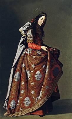 Portrait of Santa Casilda Print by Francisco de Zurbaran