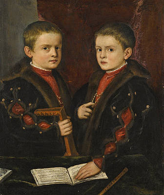 Portrait of two Boys said to be members of the Pesaro Family Print by Titian and Workshop