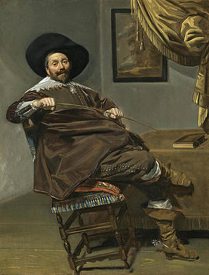 Portrait of Willem van Heythuysen seated on a Chair and holding a hunting Crop Print by Frans Hals
