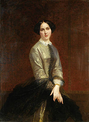 Portrait of young woman Print by Adolphe Yvon