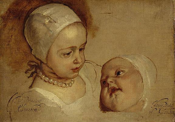 Princess Elizabeth and Princess Anne Daughters of Charles I Print by Anthony van Dyck
