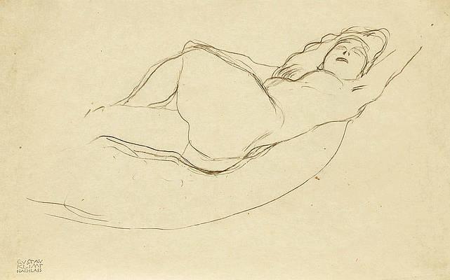 Reclining Nude facing Right Print by Gustav Klimt