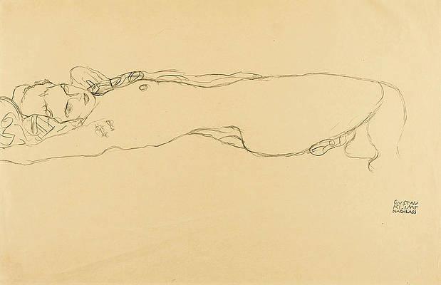 Reclining Nude Print by Gustav Klimt