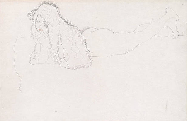 Reclining Nude With Long Hair Print by Gustav Klimt