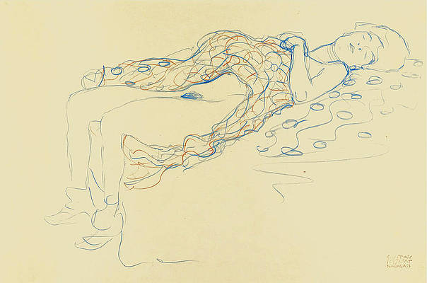 Reclining Semi-Nude to the Right Print by Gustav Klimt