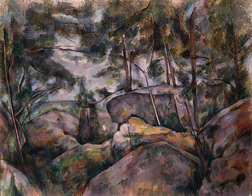Rocks in the Forest Print by Paul Cezanne