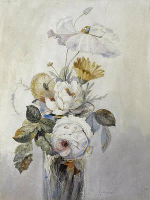 Реалистичный цветочный рисунок - Розы и другие цветы в стеклянной вазе от Джеймса Холланда