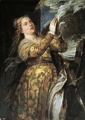 Saint Catherine of Alexandria Print by Titian