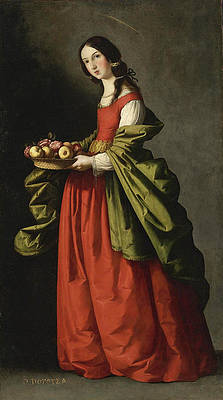 Saint Dorothy full-length holding a basket of apples and roses Print by Francisco de Zurbaran