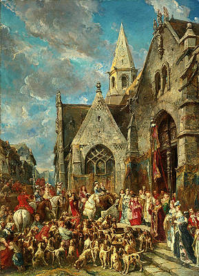 Saint Hubert's Day. The Blessing of the Hounds Print by Eugene Isabey