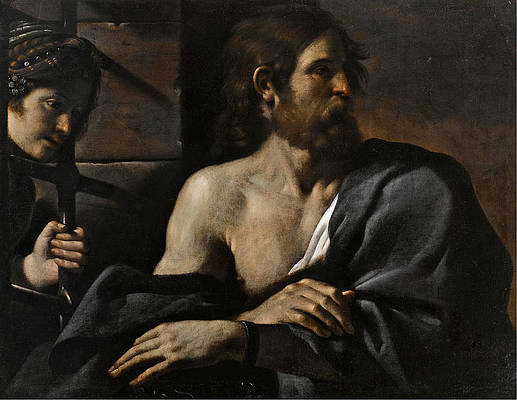 Saint John the Baptist in Prison visited by Salome Print by Guercino