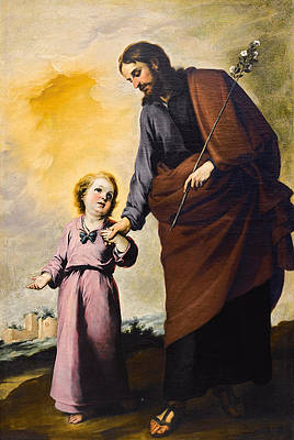 Saint Joseph with the Christ Child Print by Bartolome Esteban Murillo