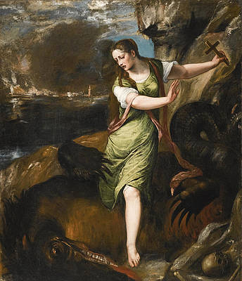 Saint Margaret Print by Titian and Workshop