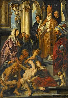 Saint Martin Healing the Possessed Man Print by Jacob Jordaens