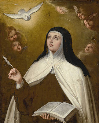 Saint Theresa surrounded by Angels Print by Circle of Bartolome Esteban Murillo