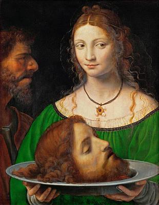 Salome with the head of Saint John the Baptist Print by Bernardino Luini