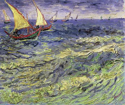 Seascape at Saintes-Maries. Fishing Boats at Sea Print by Vincent van Gogh