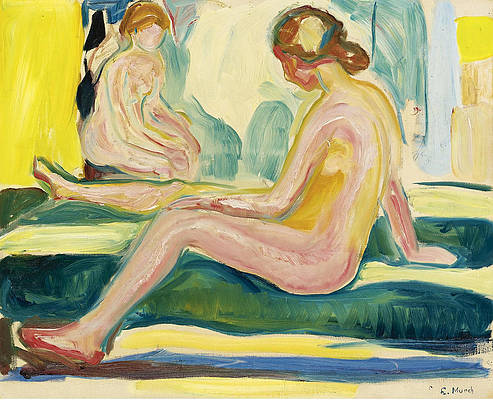 Seated Female Nudes Print by Edvard Munch