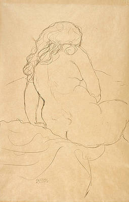 Seated Nude seen from behind and turned to the Right Print by Gustav Klimt