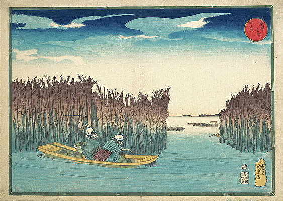Seaweed Gatherers at Omori Print by Utagawa Kuniyoshi