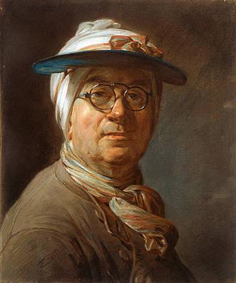 Self-Portrait with a Visor Print by Jean-Simeon Chardin