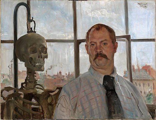 Selfportrait with skeleton Print by Lovis Corinth