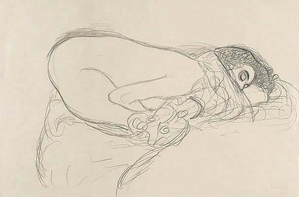 Semi-Nude leaning forward. Preparatory Work for the Painting Leda Print by Gustav Klimt