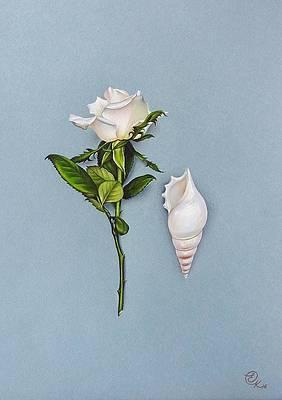 Реалистичный цветочный рисунок - оттенки белого от Елены Колотуши