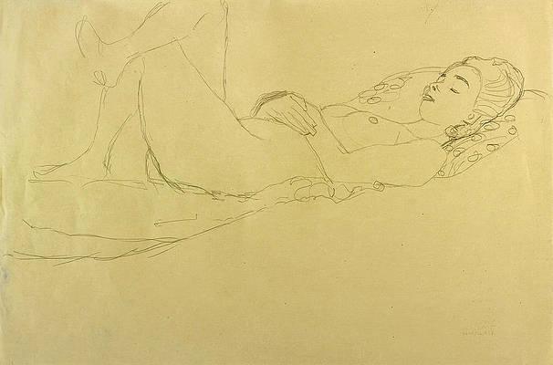 Sleeping Girl Print by Gustav Klimt