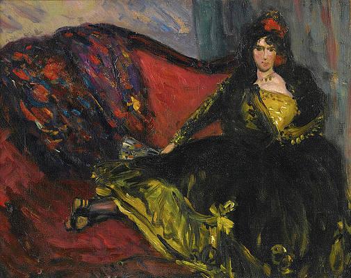 Spanish Lady on Sofa Print by William Glackens