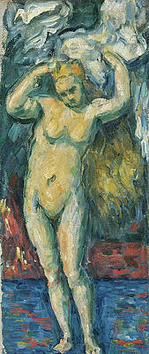 Standing Bather Drying Her Hair Print by Paul Cezanne