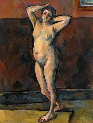 Standing Female Nude Print by Paul Cezanne