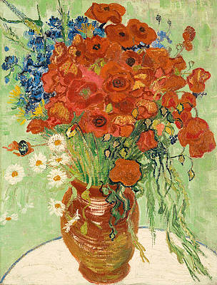 Still Life. Vase with Daisies and Poppies Print by Vincent van Gogh