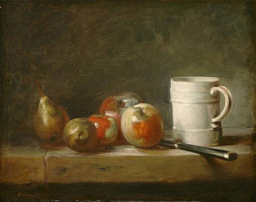 Still Life with a White Mug Print by Jean-Simeon Chardin